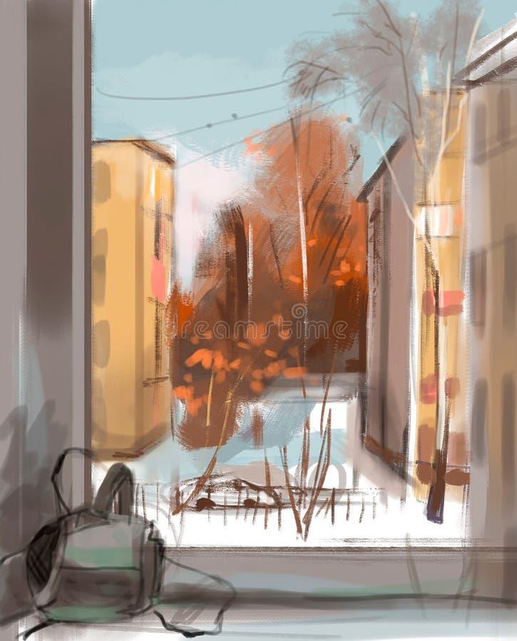 Ilustração da opinião da cidade da janela ilustração royalty free