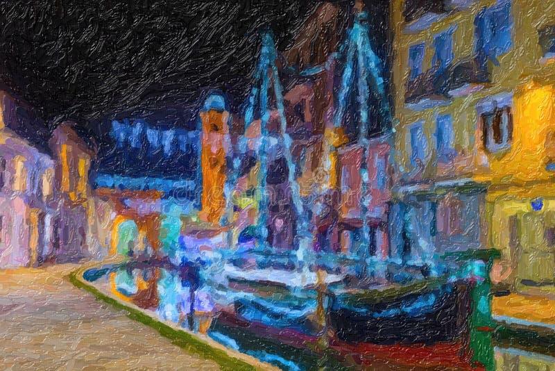 Ilustração da opinião da noite da cidade da lagoa fotos de stock