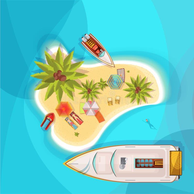 Ilustração da opinião superior da praia da ilha ilustração royalty free