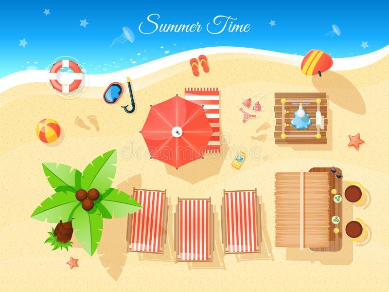 Ilustração da opinião superior das horas de verão ilustração stock
