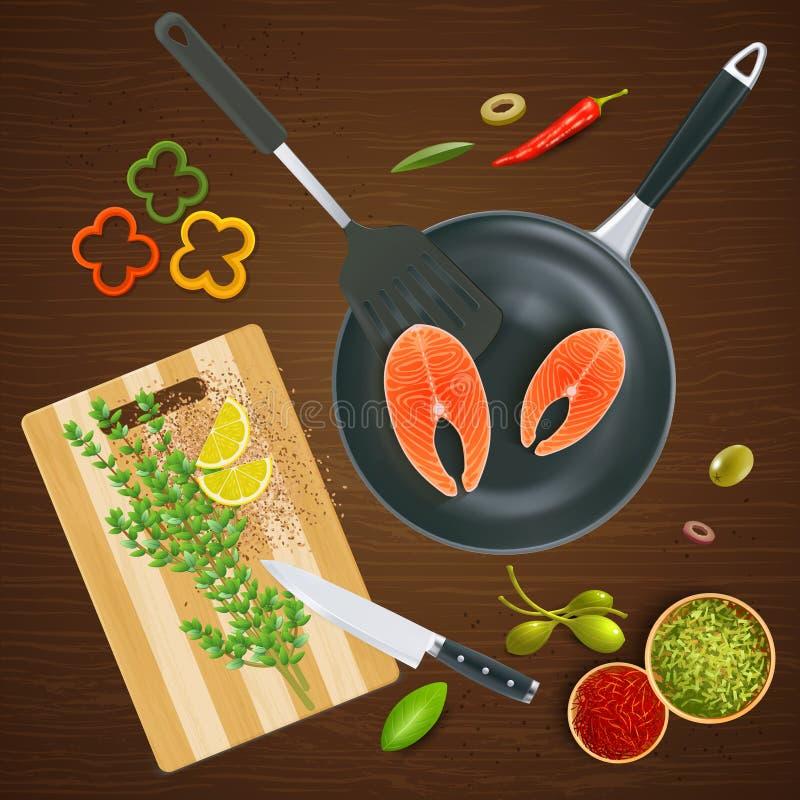 Ilustração da opinião superior dos mercadorias da cozinha ilustração royalty free
