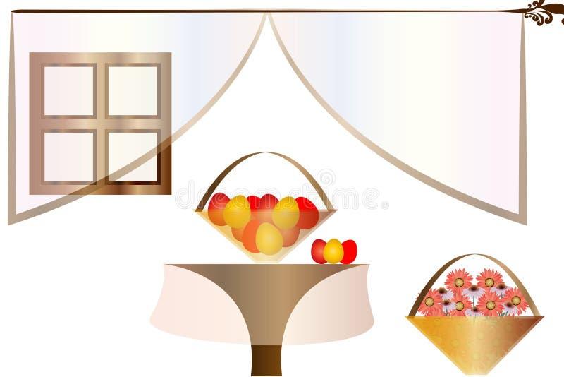 Ilustração da Páscoa - cena interior da casa - cesta com os ovos da páscoa na tabela e nas flores de florescência da mola ilustração do vetor