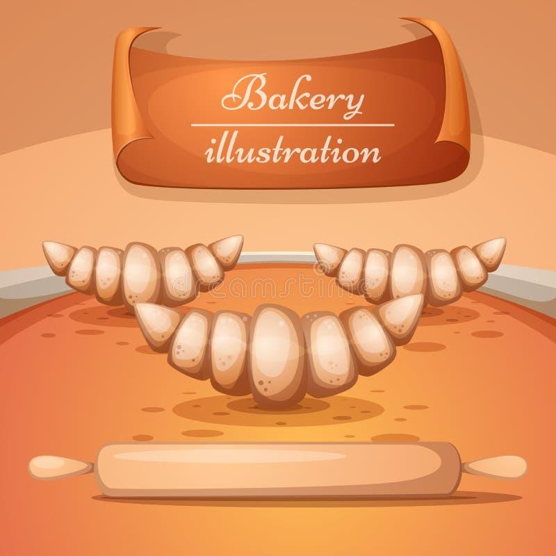Ilustração da padaria dos desenhos animados Croissant, pino do rolo ilustração stock