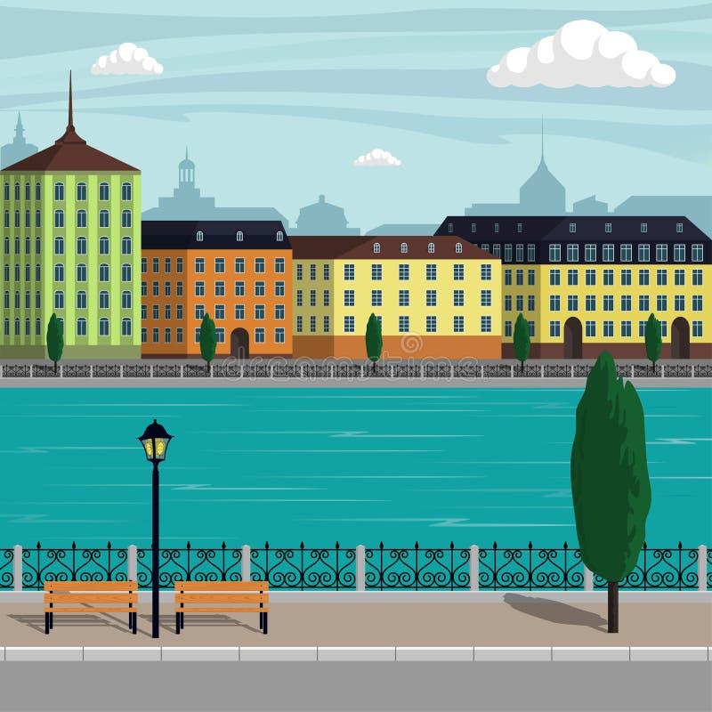 Ilustração da paisagem da cidade de Europa do vintage Construções da cidade ao longo do rio Ilustração bonita dos desenhos animad ilustração royalty free