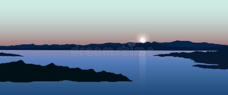 Ilustração da paisagem com mar ilustração royalty free