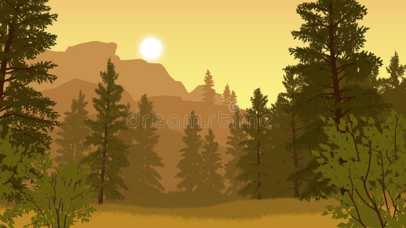 Ilustração da paisagem da floresta imagens de stock royalty free