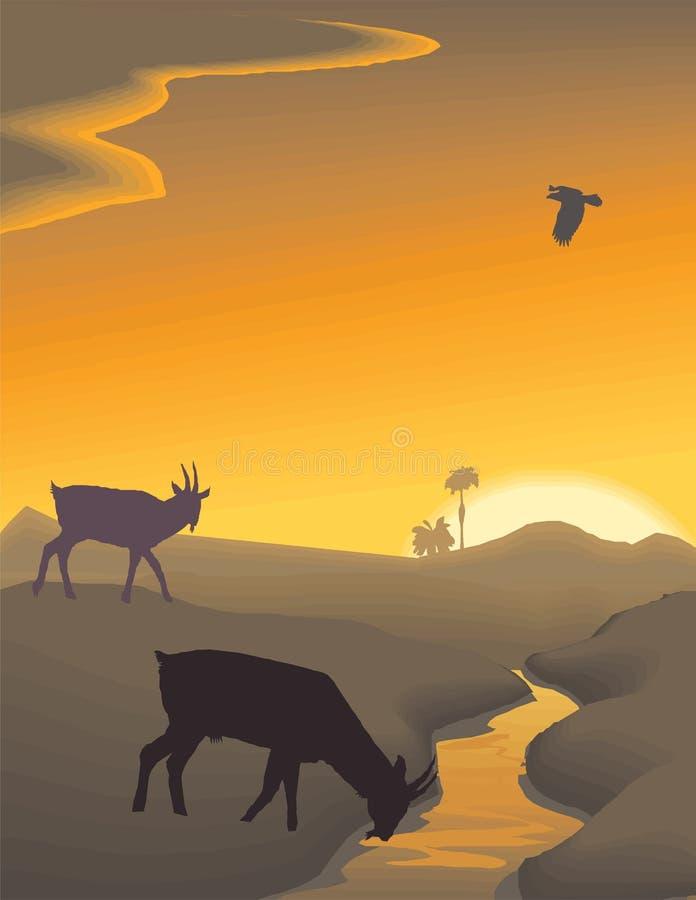 Ilustração da paisagem da noite do vetor ilustração stock