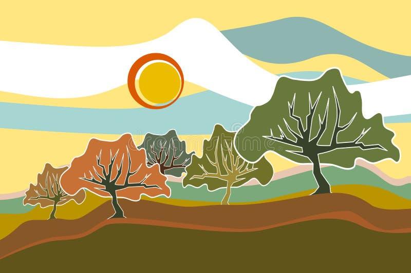 Ilustração da paisagem de Sunny Field Trees imagens de stock royalty free