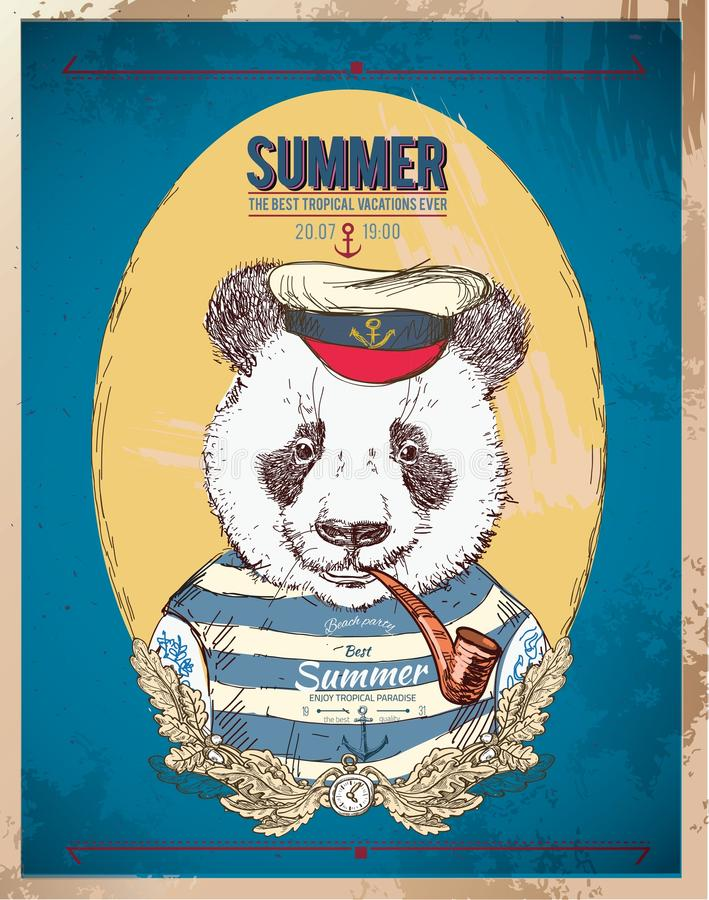 Ilustração da panda do pirata no fundo azul no vetor ilustração stock