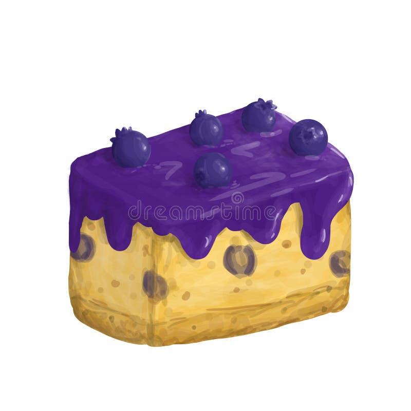 Ilustração da parte isolada de bolo do mirtilo de pântano no branco imagem de stock royalty free
