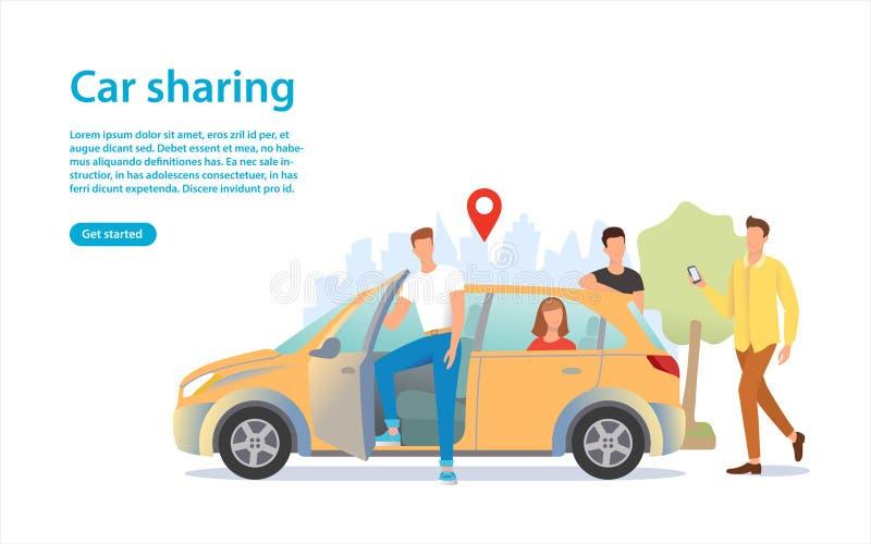 Ilustração da partilha de carro Um grupo de pessoas perto do carro imagens de stock