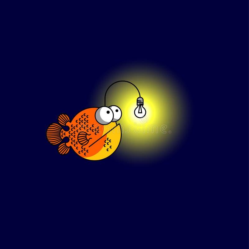 Ilustração da peixe-lanterna dos desenhos animados Lâmpada dos peixes das águas profundas com uma luz ilustração do vetor