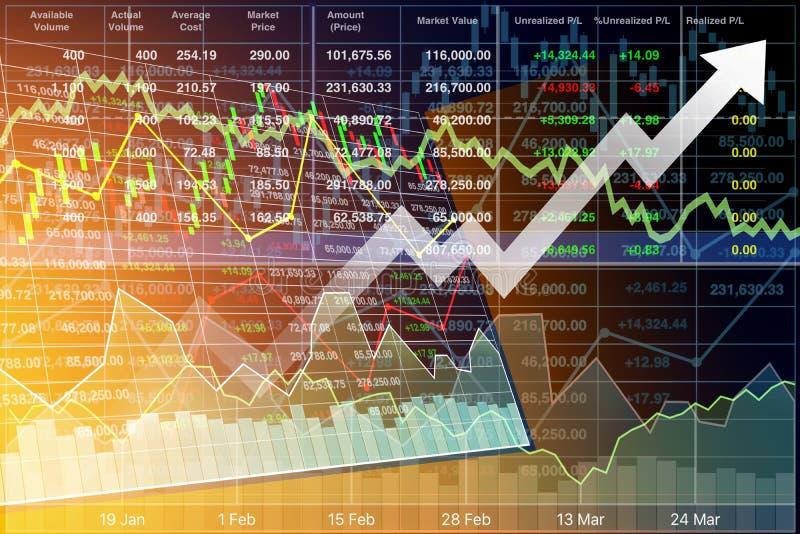Ilustração da perspectiva do investme do fundo dos dados do índice de ações ilustração stock
