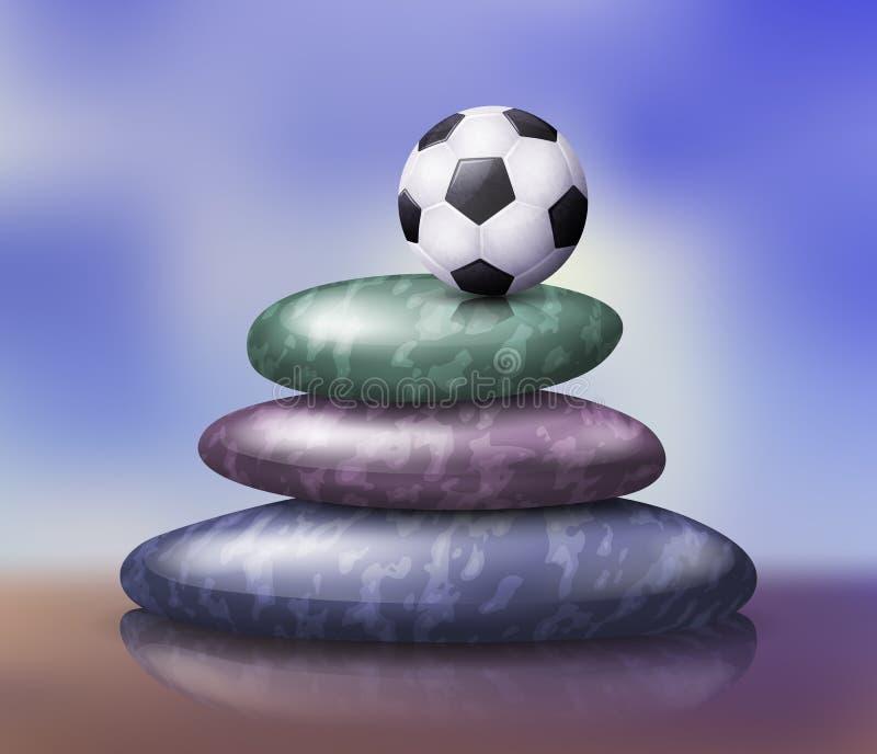 Ilustração da pilha das pedras de Zen Spa com bola de futebol ilustração do vetor