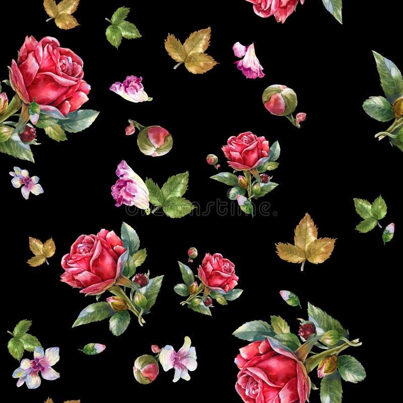 Ilustração da pintura da aquarela da rosa do vermelho, teste padrão sem emenda ilustração royalty free