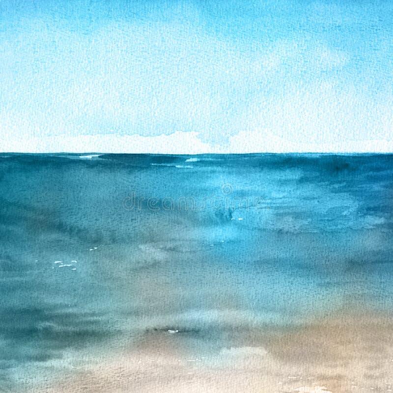 Ilustração da pintura da mão da aquarela do oceano ilustração royalty free