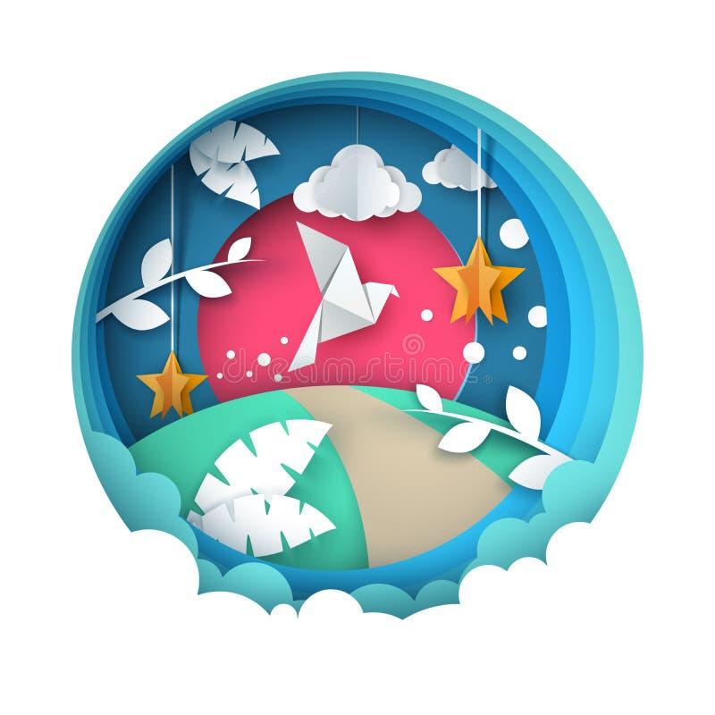 Ilustração da pomba Paisagem de papel dos desenhos animados ilustração stock