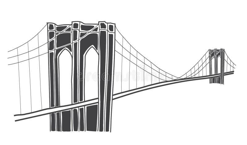 Ilustração da ponte de Brooklyn, New York ilustração royalty free