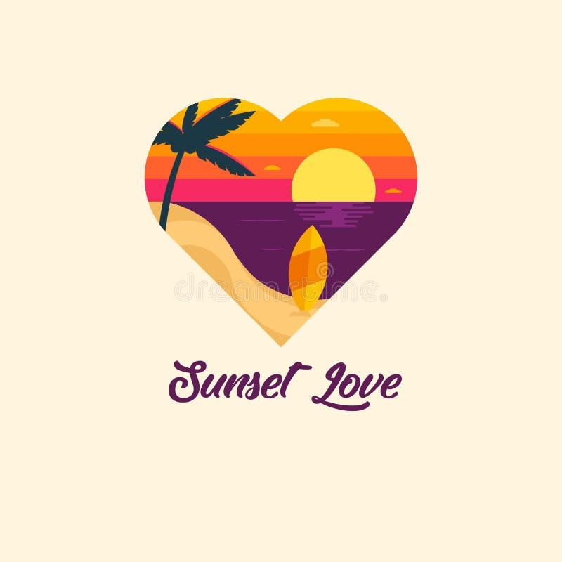 Ilustração da praia do amor do por do sol do vetor com a árvore de placa surfando e de coco no cenário da praia do verão ilustração royalty free