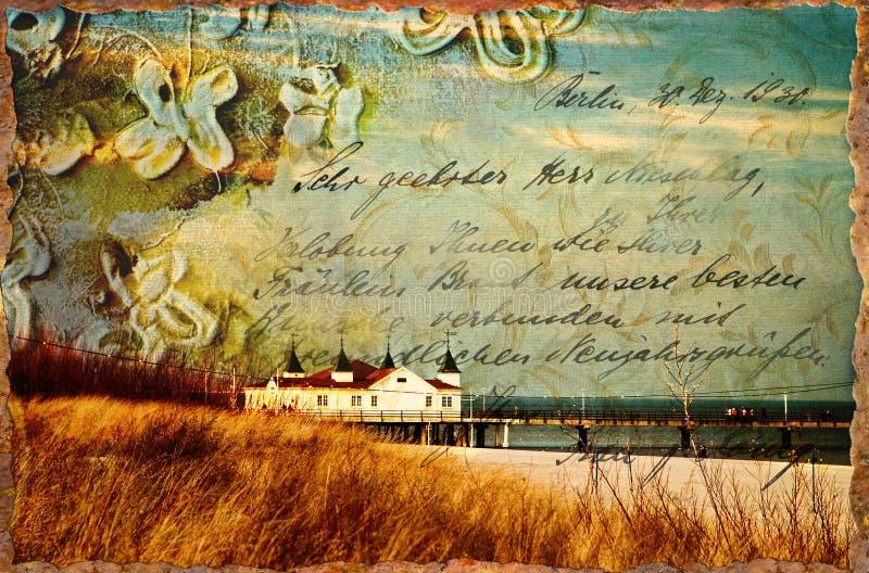 Ilustração da praia do vintage ilustração stock