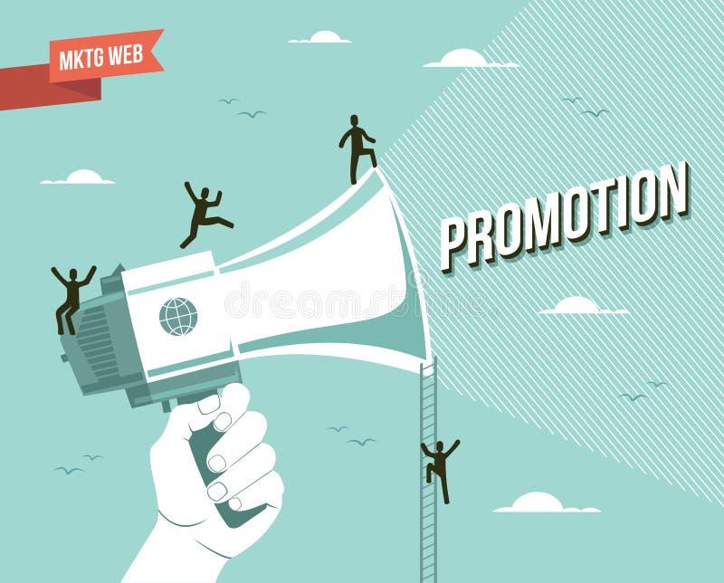 Ilustração da promoção do mercado da Web
