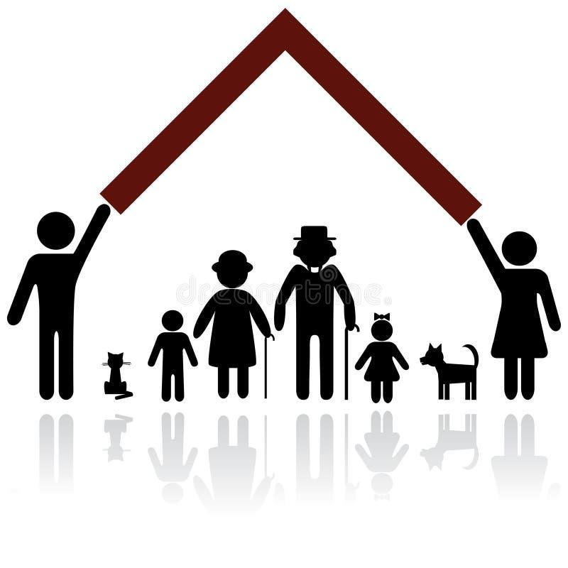 Ilustração da proteção da família. ilustração stock