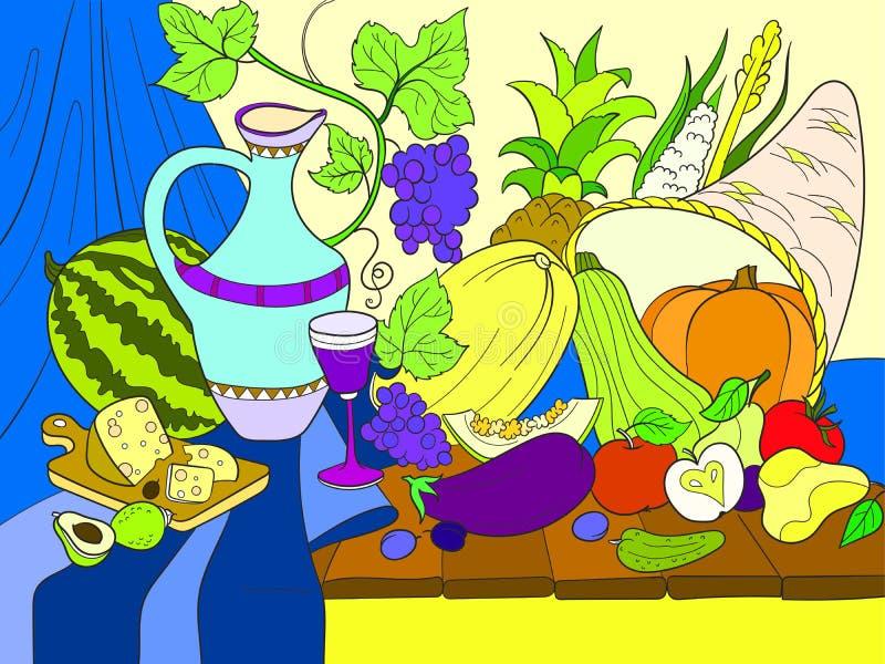 Ilustração da quadriculação do estilo da colheita dos vegetais e dos frutos Da ação de graças do dia vida ainda Imitação velha da ilustração stock