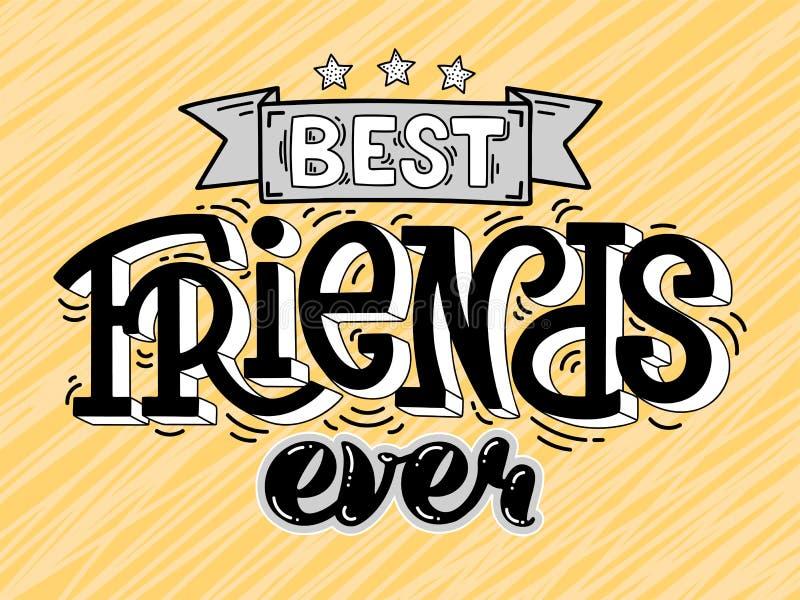 Ilustração da quadriculação dos melhores amigos do texto nunca ilustração royalty free