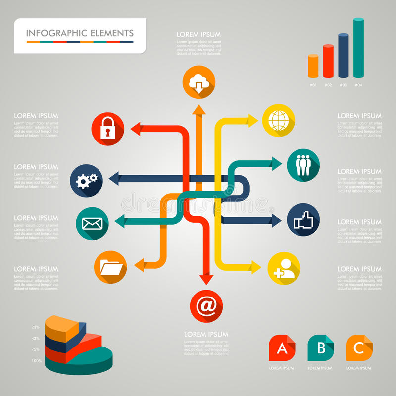 Ilustração da rede dos ícones do diagrama de Infographic