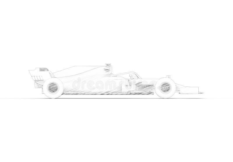 ilustração da rendição 3D com todo de um moderno carro desportivo da raça preta ilustração do vetor