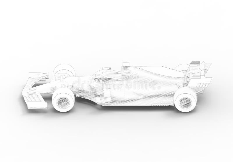 ilustração da rendição 3D com todo de um moderno carro desportivo da raça preta ilustração stock