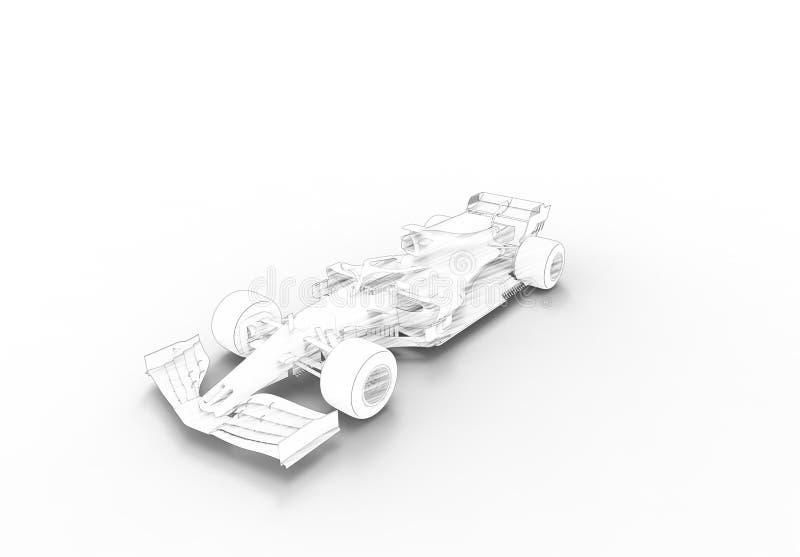 ilustração da rendição 3D com todo de um moderno carro desportivo da raça preta ilustração royalty free