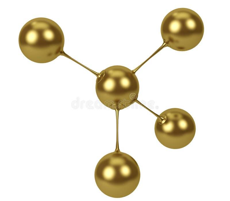 ilustração da rendição 3d Conceito lustrado ouro do sumário do modelo da molécula Forma molecular isolada no fundo branco ilustração do vetor