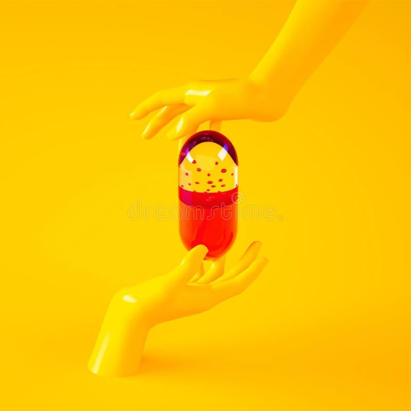 ilustração da rendição 3d das mãos que guardam a cápsula grande do comprimido Cena moderna contemporânea do estúdio amarelo ilustração royalty free