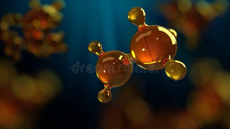 ilustração da rendição 3d do modelo de vidro da molécula Molécula do óleo Conceito do óleo ou do gás de motor do modelo de estrut ilustração royalty free