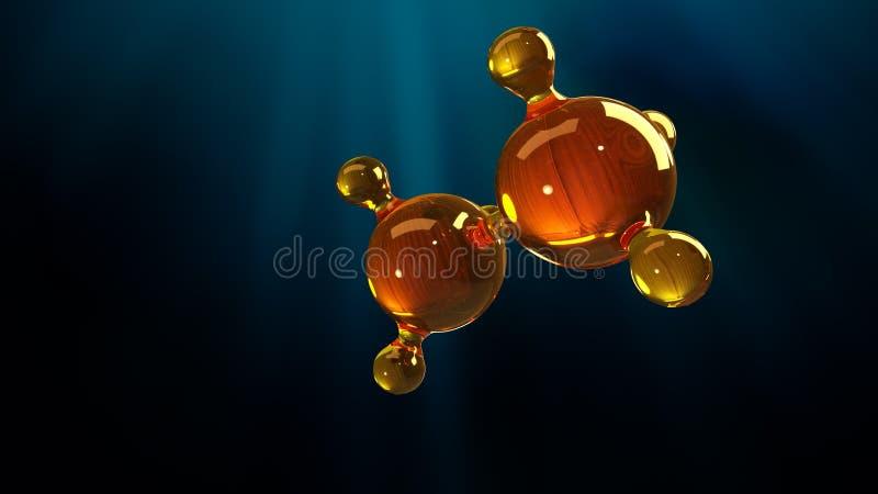 ilustração da rendição 3d do modelo de vidro da molécula Molécula do óleo Conceito do óleo ou do gás de motor do modelo de estrut ilustração stock