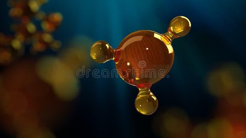 ilustração da rendição 3d do modelo de vidro da molécula Molécula do óleo Conceito do óleo ou do gás de motor do modelo de estrut imagens de stock royalty free