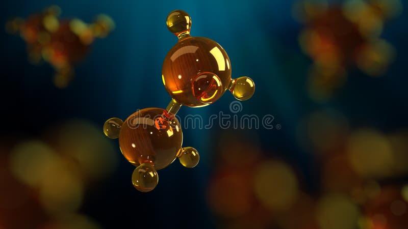 ilustração da rendição 3d do modelo de vidro da molécula Molécula do óleo Conceito do óleo ou do gás de motor do modelo de estrut imagem de stock royalty free