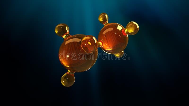 ilustração da rendição 3d do modelo de vidro da molécula Molécula do óleo Conceito do óleo ou do gás de motor do modelo de estrut fotografia de stock
