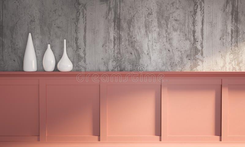 ilustração da rendição 3d da sala de visitas do dia ensolarado fotografia de stock