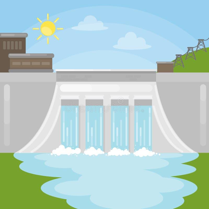 Ilustração da represa das energias hidráulicas ilustração royalty free