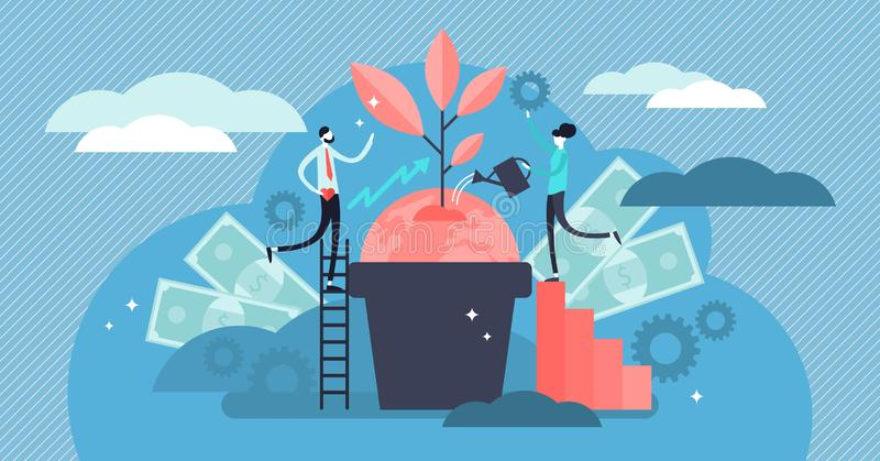 Ilustração da responsabilidade social do negócio Conceito minúsculo liso da pessoa das éticas ilustração stock