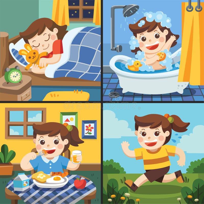 Ilustração da rotina diária de uma menina bonito ilustração royalty free