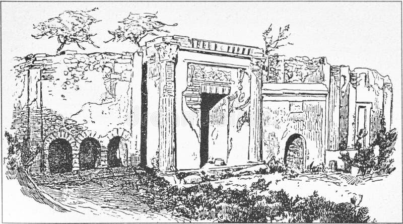 Ilustração da rua dos túmulos fora da porta de Nuceria em Pompeii ilustração stock