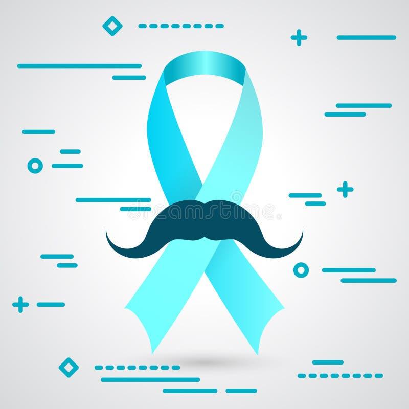 Ilustração da sagacidade do símbolo da fita azul da conscientização do câncer da próstata ilustração do vetor