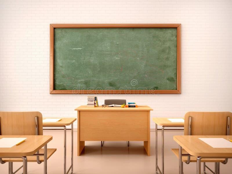 Ilustração da sala de aula vazia brilhante para lições e traini imagens de stock royalty free