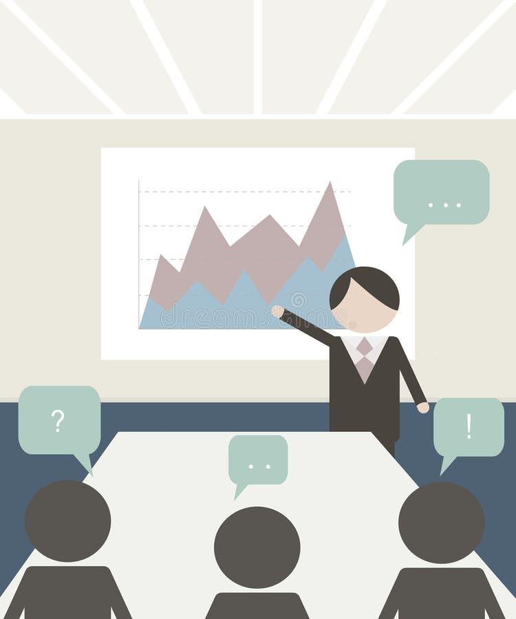 Ilustração da sala de conferências Povos na conferência Molde da reunião de negócios ilustração royalty free