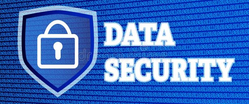 Ilustração da segurança de dados com código binário de incandescência e cadeado ilustração do vetor