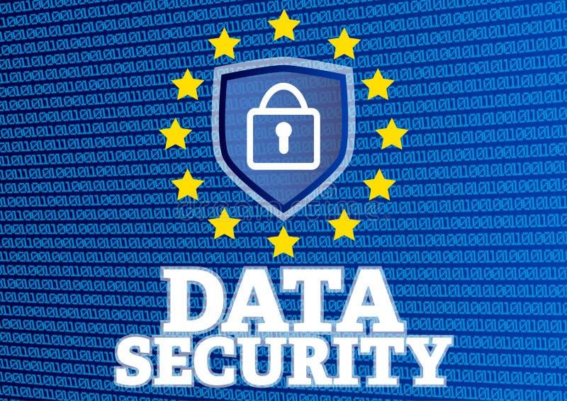 Ilustração da segurança de dados com código binário de incandescência e cadeado ilustração royalty free