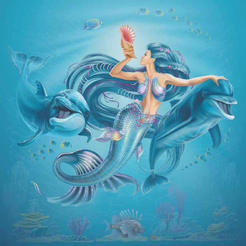 Ilustração da sereia e dos golfinhos ilustração do vetor